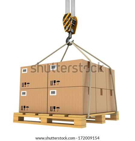 Cargo delivery. Pallet with cardboard lifted by crane. 3d - stock photo