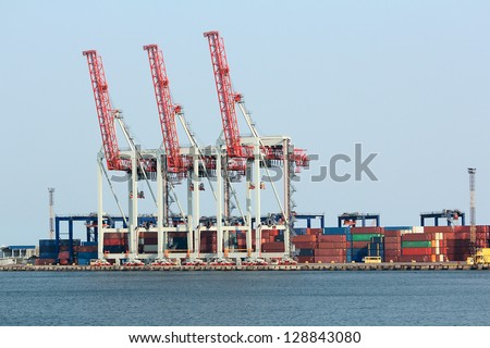 Cargo dock with a lot big cranes
