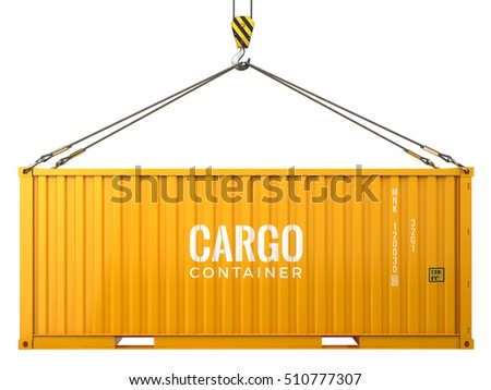 Cargo freight shipping container isolated on white background - 3d render