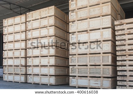 Cargo in wooden case at warehouse - stock photo