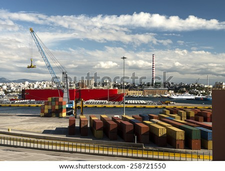 cargo loading port - stock photo