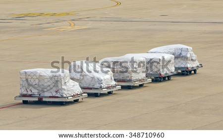 Cargo packed and ready to be delivered - stock photo