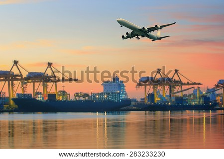 cargo plane flying above ship port use for transportation and freight logistic industry business - stock photo