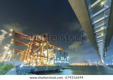 Cargo port and bridge in Hong Kong
