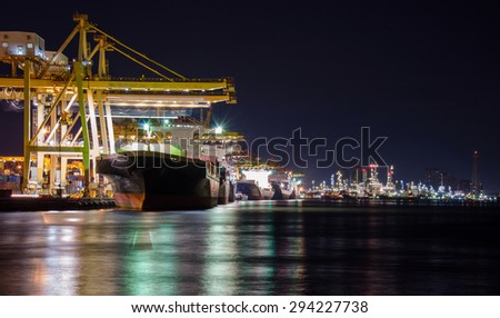Cargo port  & Oil refinery - stock photo