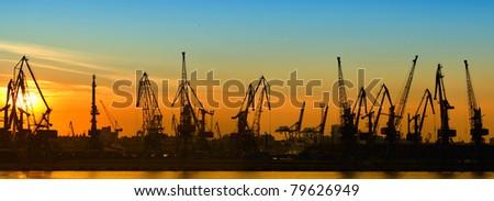 Cargo port panorama - stock photo