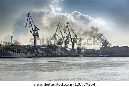 Cargo port. Saint-Petersburg terminal, Russia - stock photo