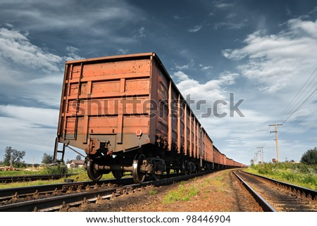 cargo railway coach - stock photo