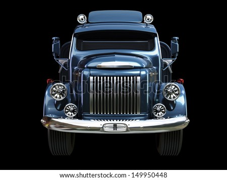 cargo retro car on a black background blue color - stock photo