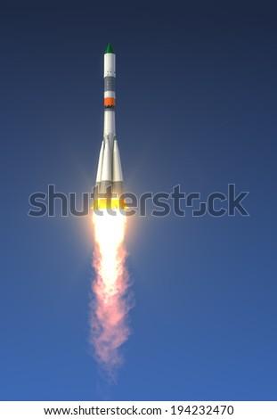 Cargo Rocket Launch. 3D Scene. - stock photo