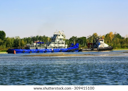 Cargo sailing ship on the river Don Russia - stock photo