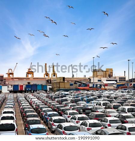 Cargo sea port. Sea cargo cranes. Cars. Seascape. - stock photo