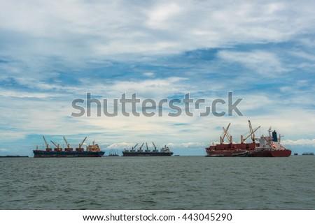 Cargo ship, at si-chang island, thailand - stock photo