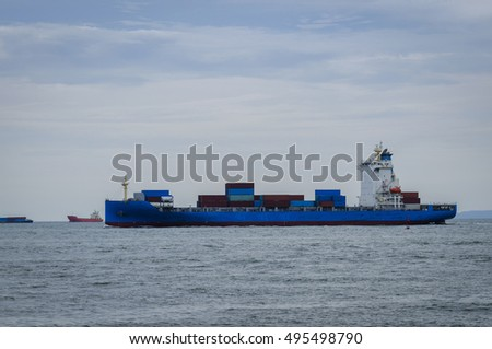 Cargo ship at the port , logistic , Maritime transport
