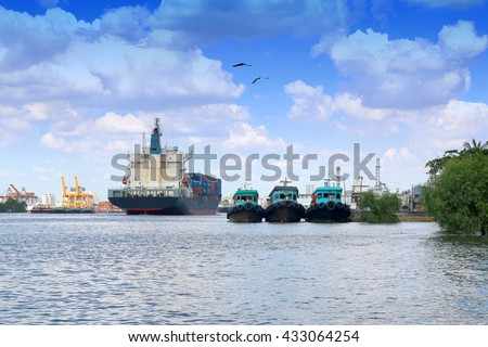 Cargo ship in Chaophraya River at Klongtoey port