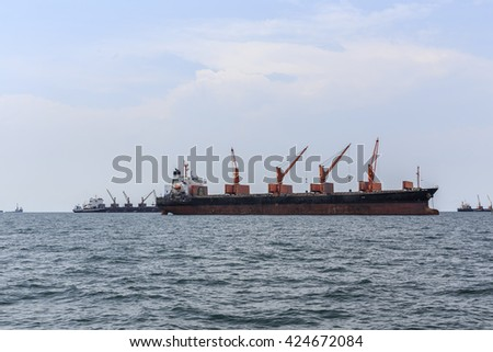 Cargo ship in sea Thailand