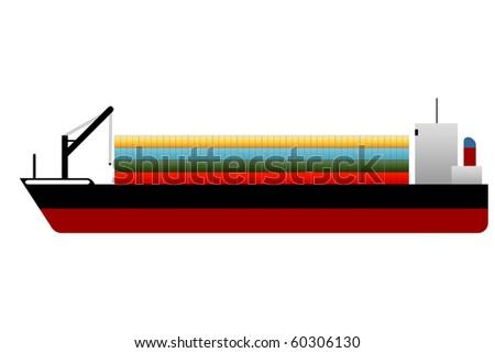 Cargo Ship loaded - stock photo