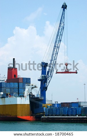 Cargo ship loading containers at the Port of Miami