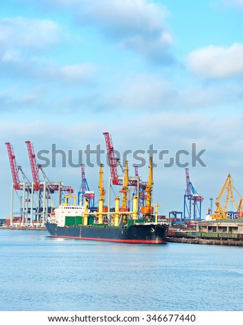 Cargo ship loading in commercial port of Odessa, Ukraine