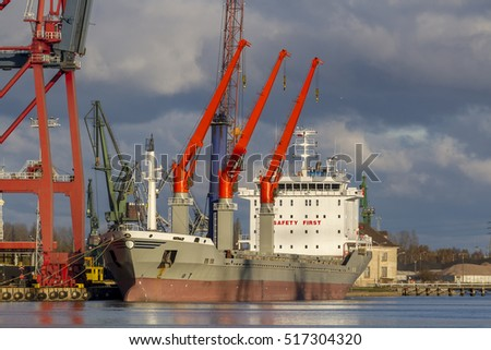 Cargo ship moored in the port