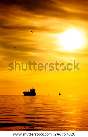 Cargo ship on sea in the rays of the setting sun.  - stock photo