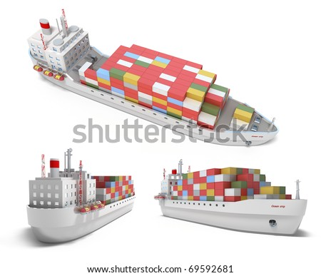 Cargo ship with containers isolated on white. My own design - stock photo
