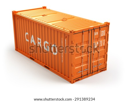 Cargo shipping container isolated on white. Delivery. 3d - stock photo