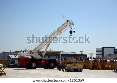Cargo Shipping Crane in Aerospace Plant - stock photo