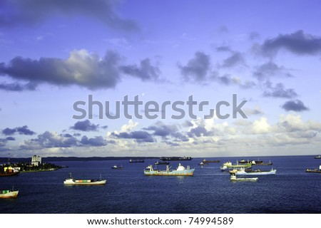 Cargo ships anchored at the harbor in Colon Panama - stock photo