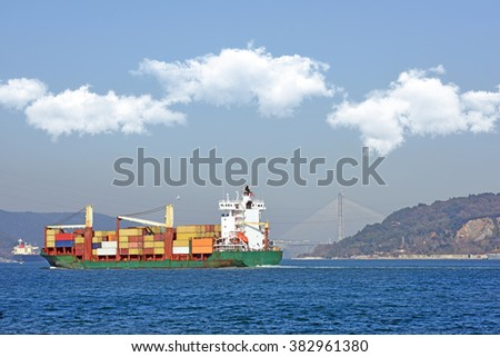 Cargo ships are sailing in front of the third bridge on Bosporus,Istanbul - stock photo