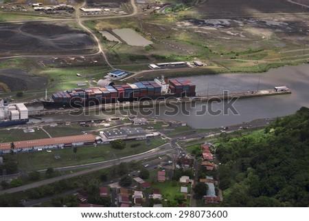 Cargo Ships at Miraflores Locks in Panama Canal, Panama - stock photo