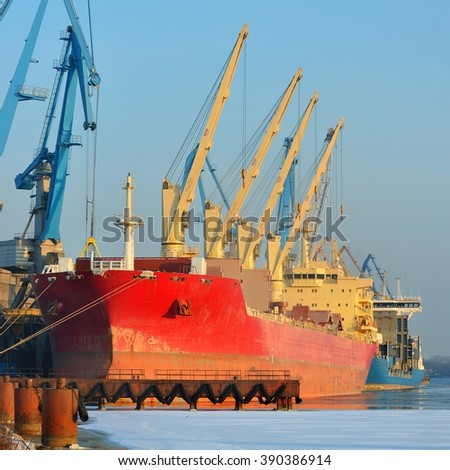 cargo ships (Bulk carriers) loading in cargo terminal of Riga - stock photo