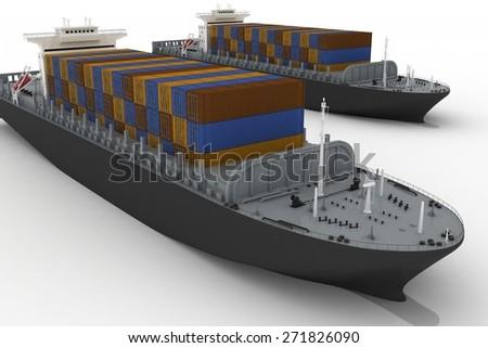Cargo ships isolated on white background - stock photo