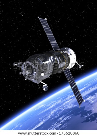 Cargo Spacecraft Orbiting Earth. 3D Scene. Elements of this image furnished by NASA.