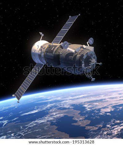 Cargo Spacecraft Orbiting Earth. 3D Scene. Elements of this image furnished by NASA.  - stock photo