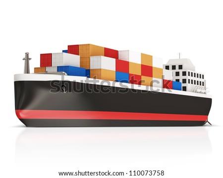 Cargo Tanker isolated on white background - stock photo