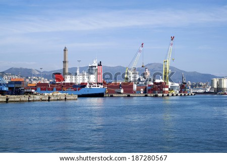 Cargo terminal in the Port of Genoa, Italy