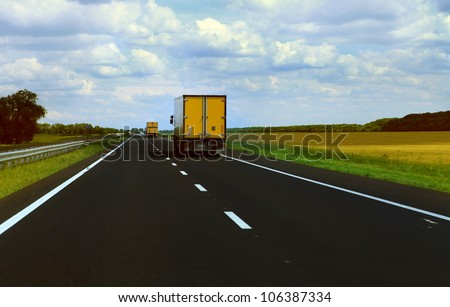 Cargo Track moves on the HighWay - stock photo