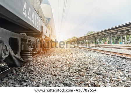 Cargo train at the train station