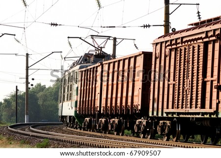 cargo train loaded with coal - stock photo