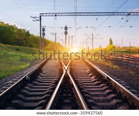 Cargo train platform at sunset. Railroad in Ukraine. Railway station. - stock photo