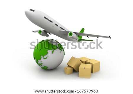 Cargo transportation image with the Earth, cardboard boxes and plane, world wide cargo transport NEW CONCEPT