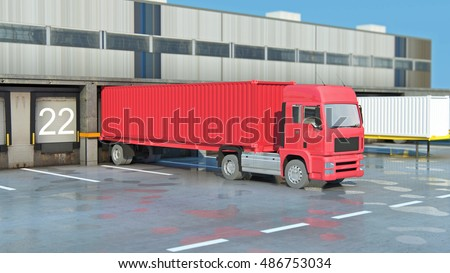 Cargo Transportation - Truck in the warehouse Cardboard boxes isolated over white background for use in presentations, education manuals, design, etc. 3D illustration