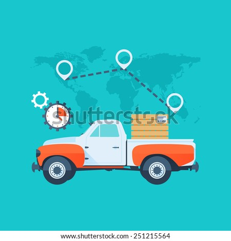 Cargo Truck. Delivery Service Concept. Flat Style with Long Shadows. Clean Design. Raster Copy. - stock photo