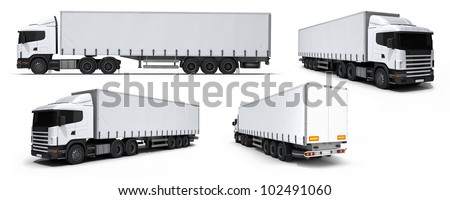 Cargo truck delivery vehicle collection isolated on white - stock photo