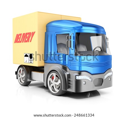 Cargo truck isolated on white background. 3d render - stock photo