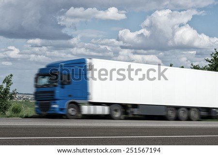 cargo truck on road - stock photo
