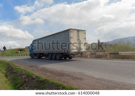 Cargo truck on the mountain highway. Transport