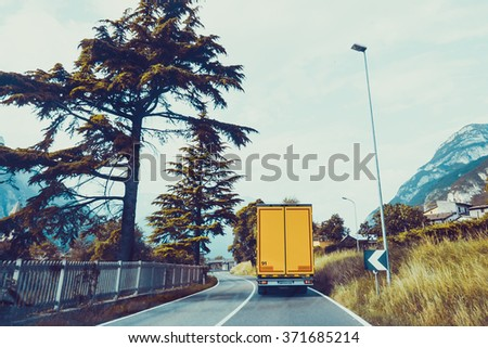 Cargo truck on the mountain. truck on road. Cargo transportation - stock photo