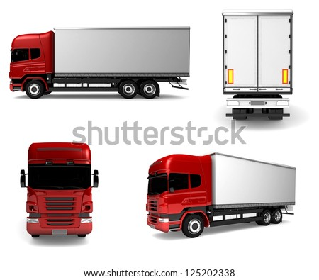 Cargo truck. red White delivery car isolated. 3d illustration - stock photo